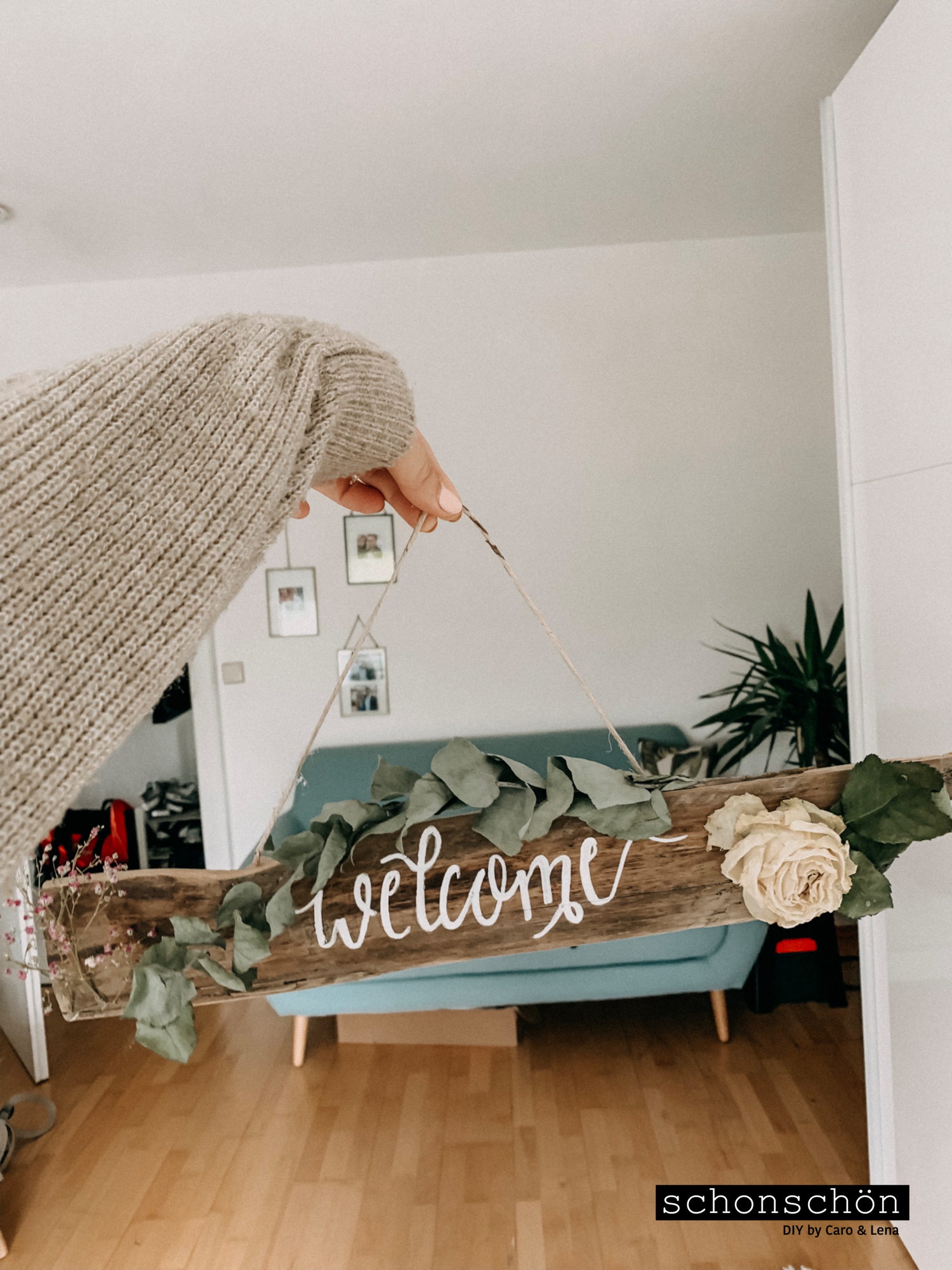 DIY Welcome-Schild mit Blumen