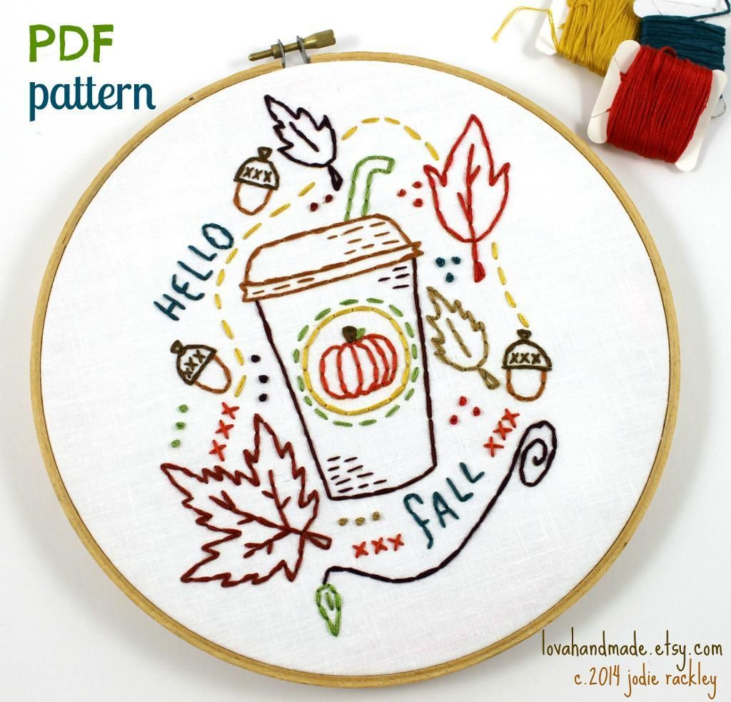 Fall Pumpkin Latte Embroidery Pattern