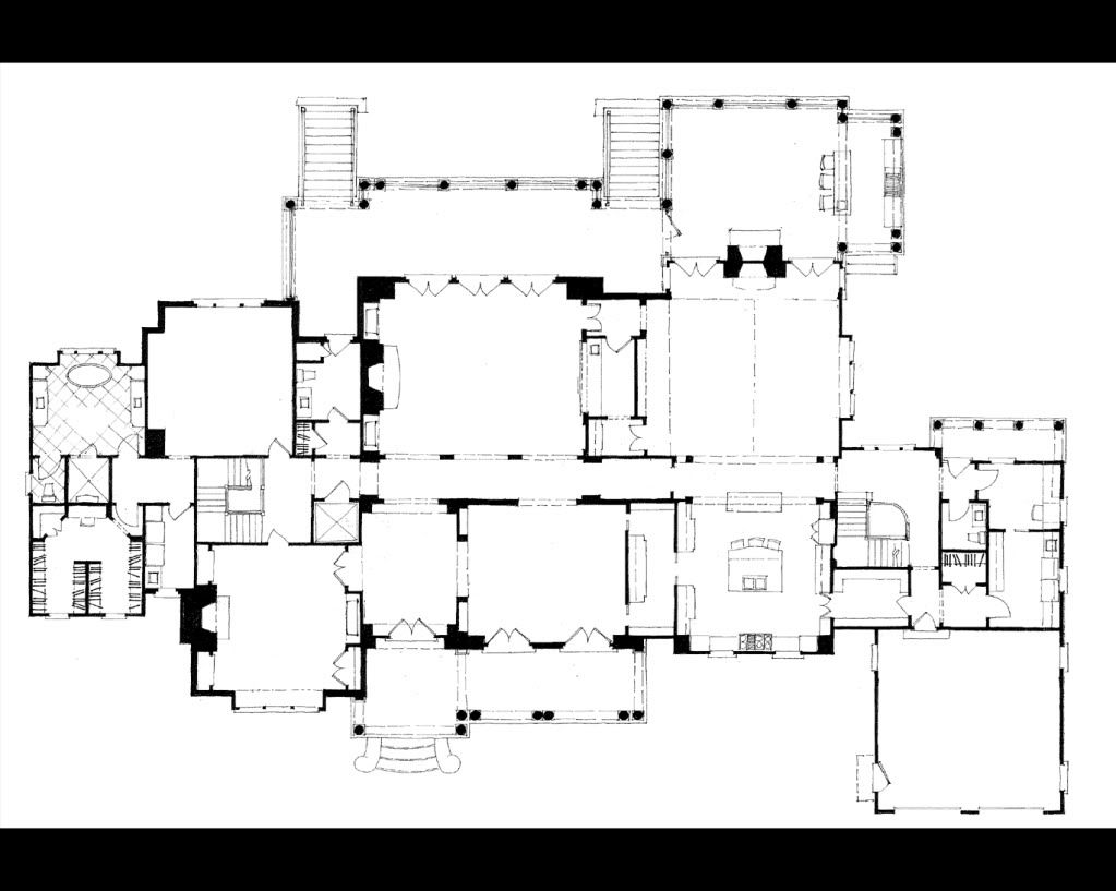 Stephen Fuller Designs Classic American Estate Drawings Architectural Floor Plans Courtyard House Plans Mansion Floor Plan