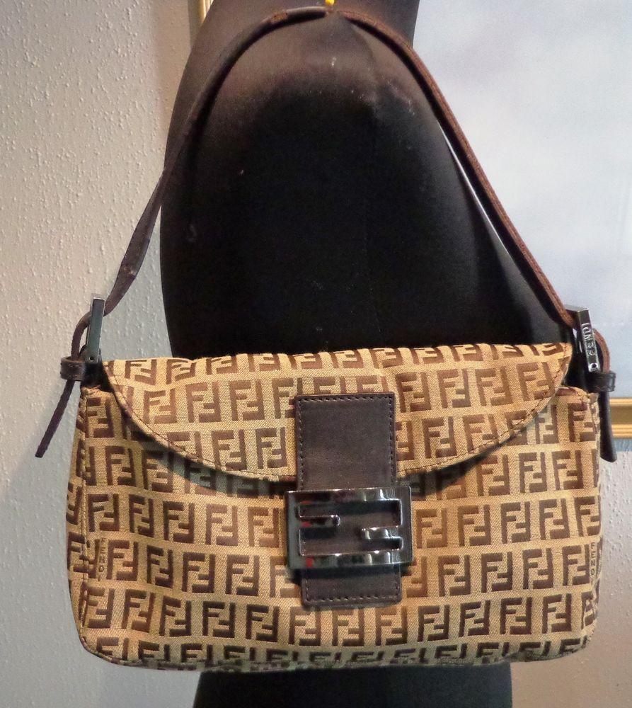 6e1e67d94d2e ... switzerland fendi brown monogrammed baguette shoulder bag peek a boo  style strap can adjust fendi 2a1aa ...