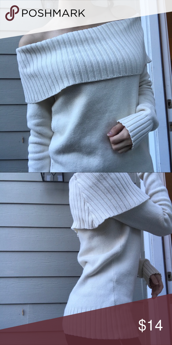 1bdcaa8f1e6 off the shoulder cream sweater hardly worn   in amazing condition! size S  modeled on
