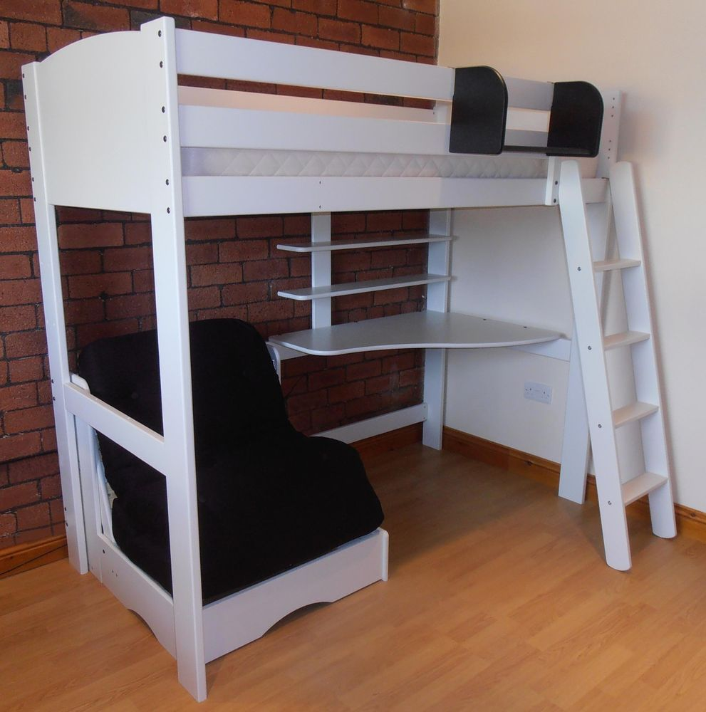 197 X 141 X 177cm 615 High Sleeper Bed With Futon Desk And Shelves White With Futon In Small Spaces Bunk Bed