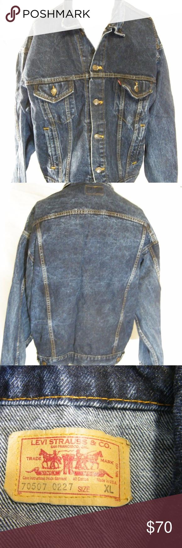 Levis Mens Blue Denim Trucker Jacket XL Clothes design