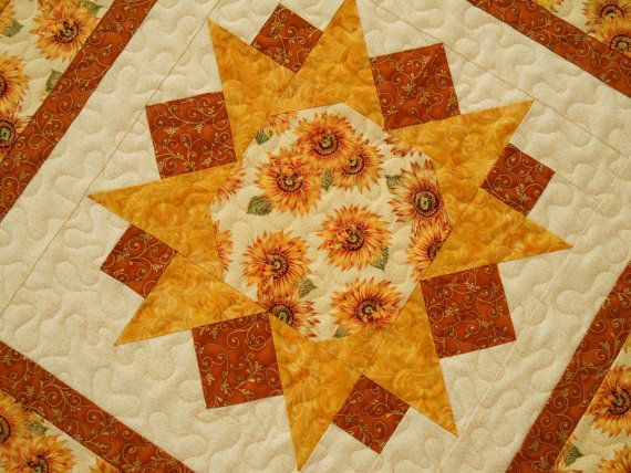 Sunflowers Quilted Square Table Topper by susiquilts on Etsy, $42.00