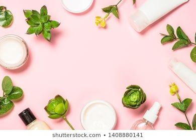 Skin Care Product Natural Cosmetic Flat Lay Image On Pink Background Stock Photos Images Natural Cosmetics Skin Care Cosmetics