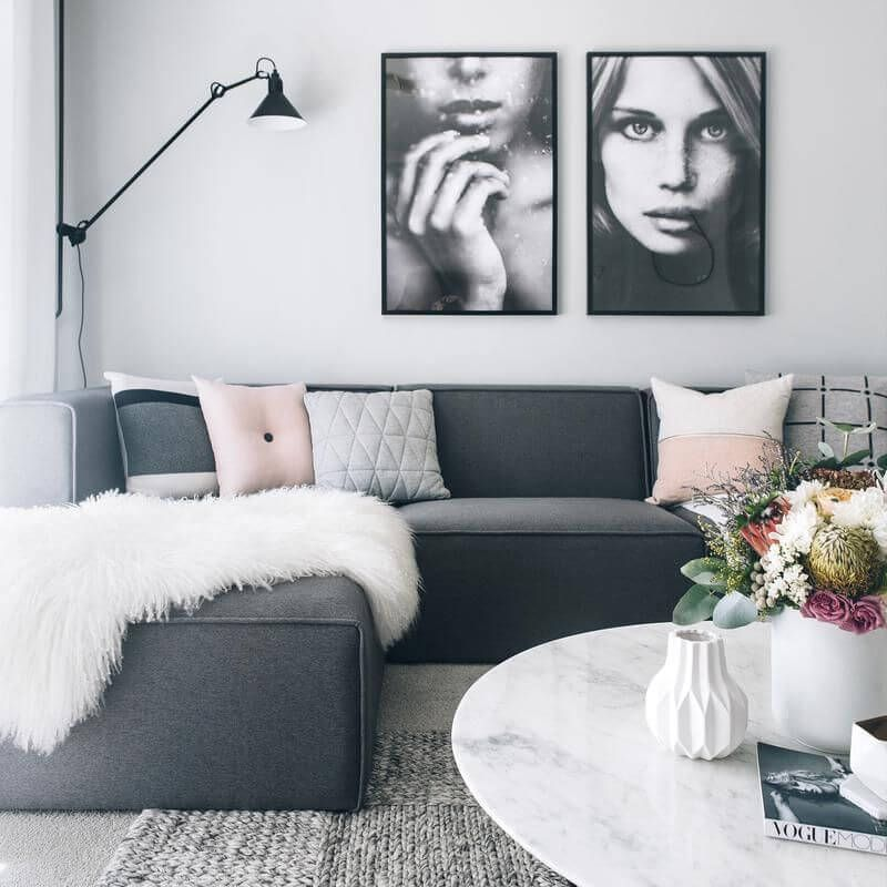 16 Stylish Scandinavian Living Room Ideas That Will Transform Your Space Dark Grey Couch Living Room Grey Sofa Living Room Gray Sofa Living
