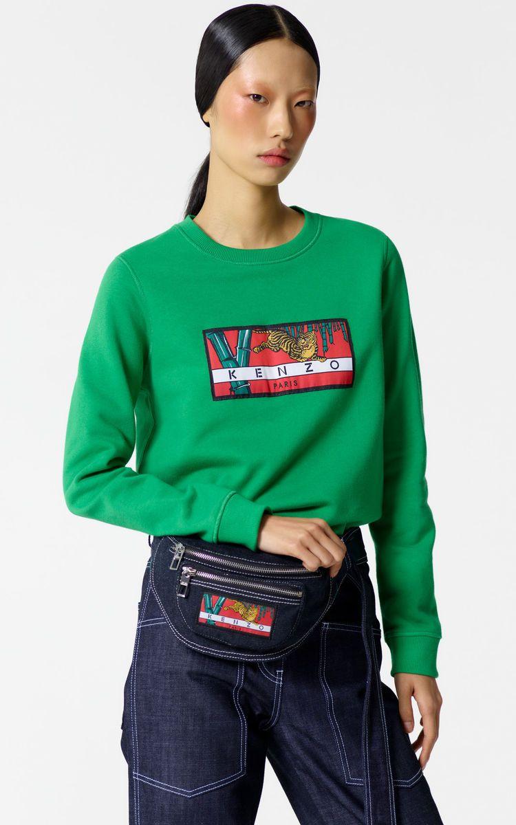67d3f8865e3 GRASS GREEN 'Bamboo Tiger' sweatshirt for women KENZO | REAL FASHUN ...