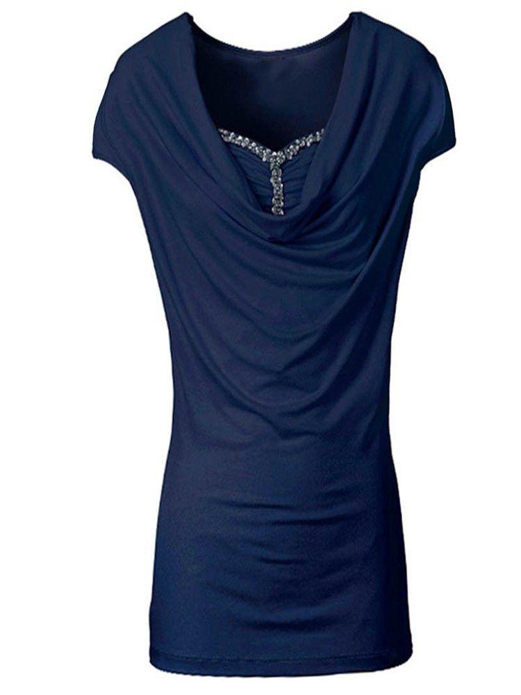 Women Short Sleeve Piles Collar Stitching Beading Solid T-Shirt