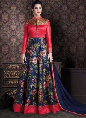 Blue and Reddish Pink Floral Printed Floor Length Anarkali