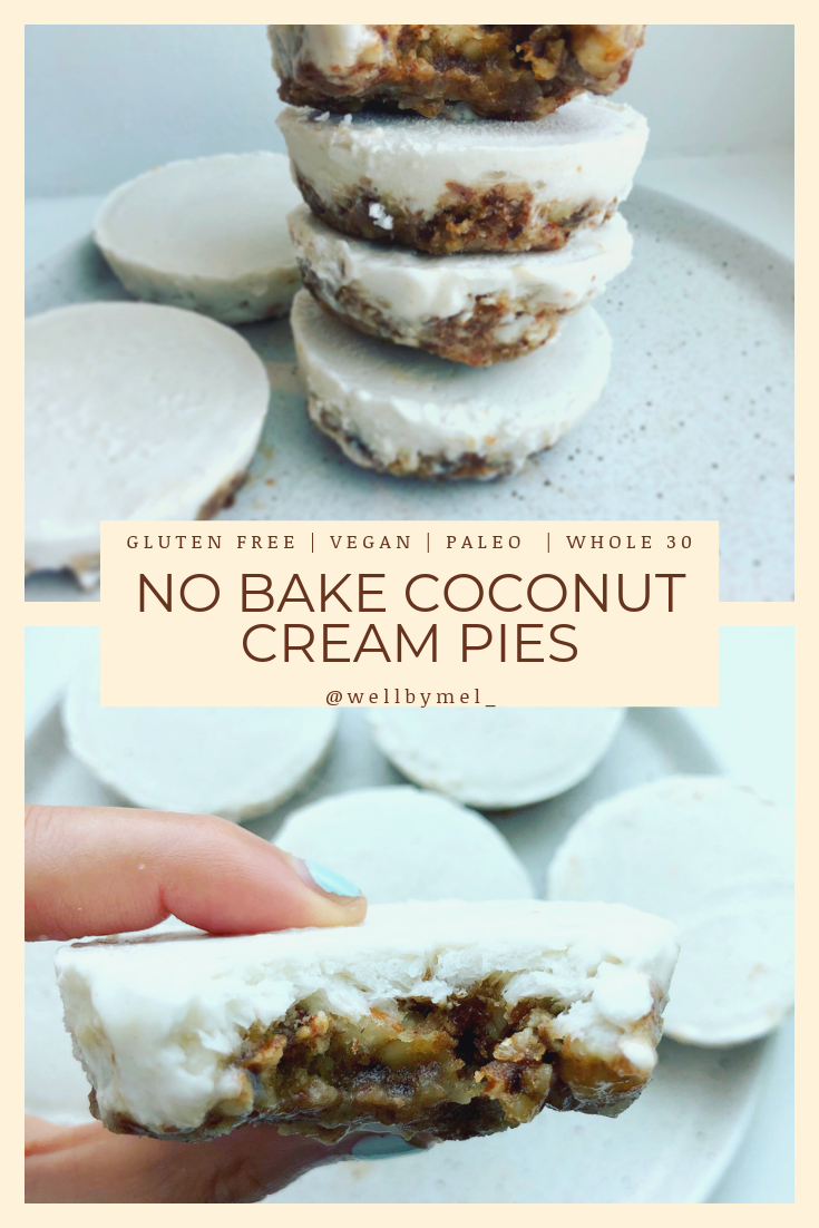 These No Bake Mini Lemon Coconut Pies make the perfect little healthy desserts! They are made with all real food ingredients, are no bake, easy to make, and taste delicious! #healthydessert #paleodessert #nobake #whole30dessert #vegandessert #glutenfreedessert