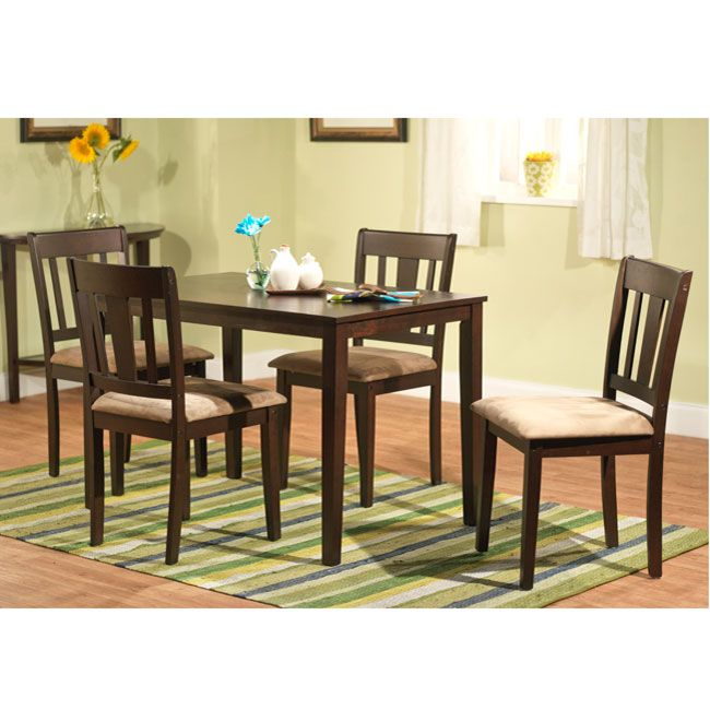 Enhance Your Eat In Kitchen Or Dining Room With This 5 Piece Dining Set. An  Espresso Finish Table U0026 4 Dining Chairs With Brown Microsuede Seats  Features A