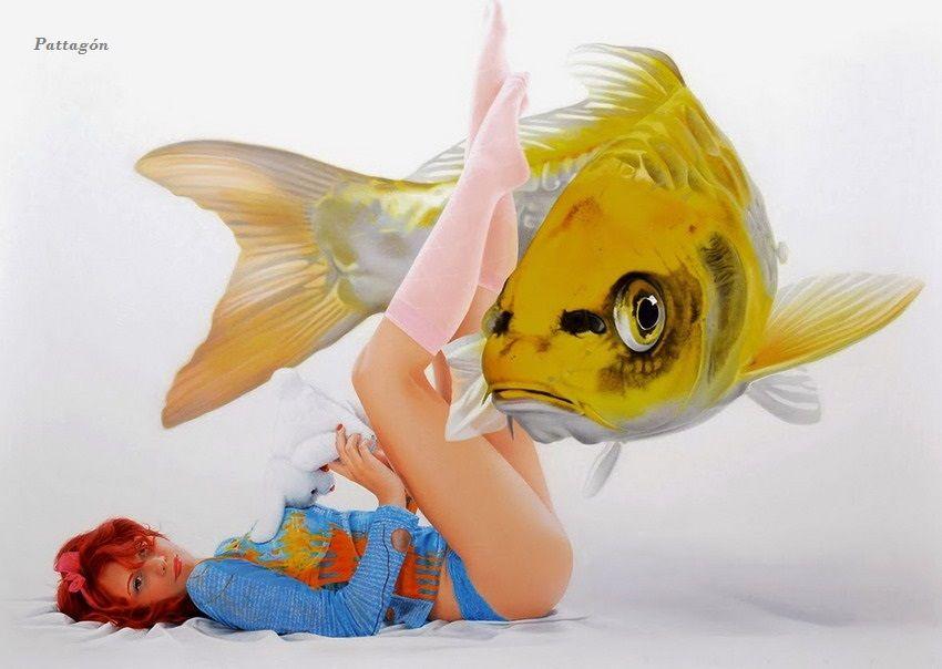 Surrealismo cuadros con peces y chicas de dogru comert for Cuadros de peces