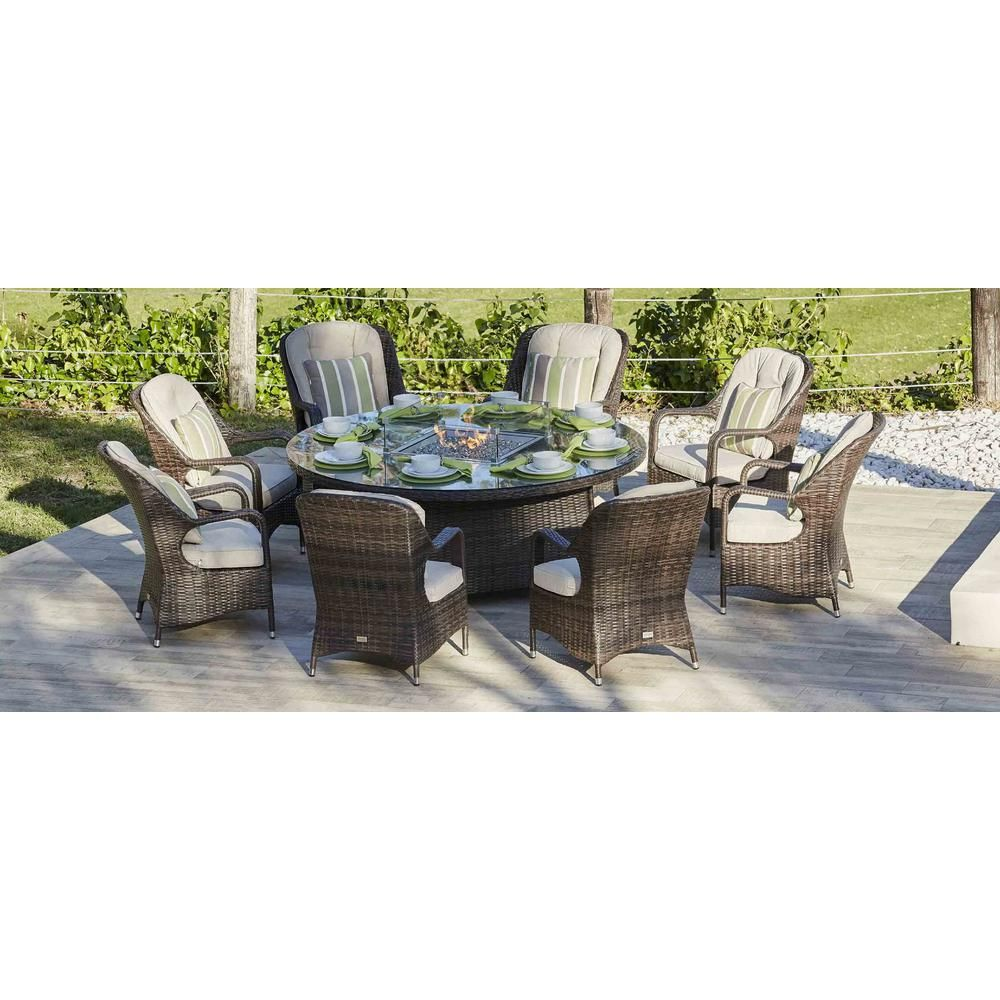 Direct Wicker Eton 8 Seat Brown Round Wicker Outdoor Fire Pit Dining Table Patio Dining Set Outdoor Patio Propane Fire Pit Table