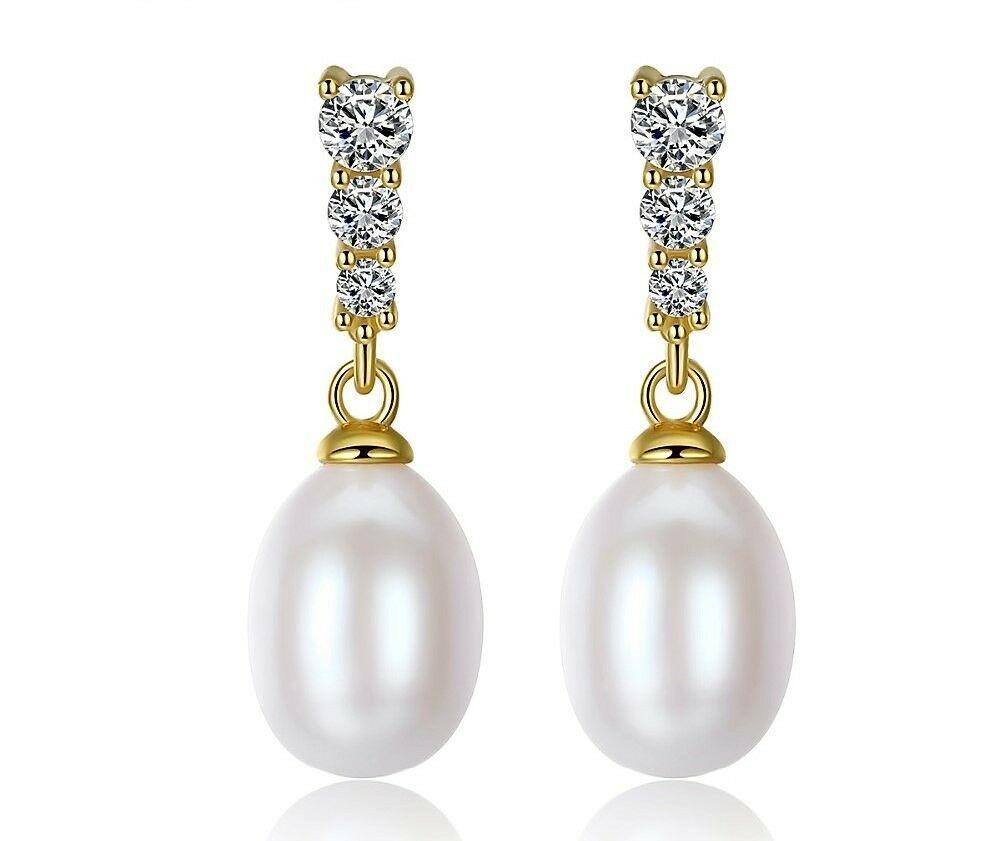 925 Silber Ohrringe Perle Ohrringe 10-11mm weiße Süßwasserperle Ohrringe