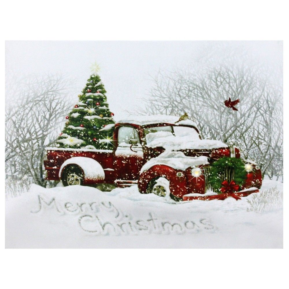 Northlight Led Fiber Optic Red Truck And Tree Christmas Canvas Wall Art 15 75 X 12 Multicolored Christmas Red Truck Christmas Canvas Christmas Tree Truck