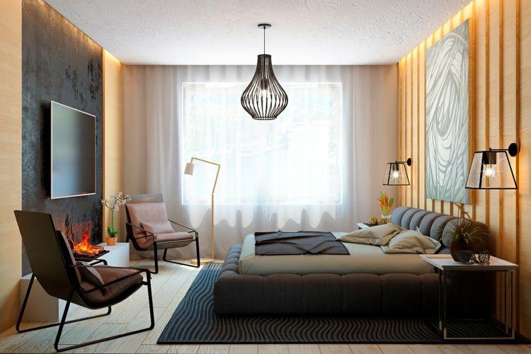 chambre adulte avec lambris mural moderne et liminaires design ...