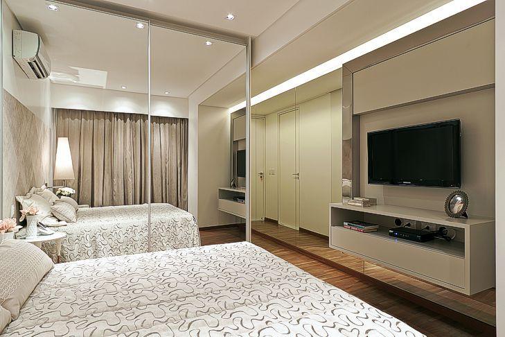 suite hospede santos e santos  armario com porta de espelho  Quartos  Bedroom decor Home Decor e Entertainment wall units