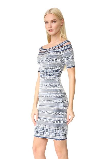 Discount Blue New Style Two Shoulder Herve Leger Bandage Dresses