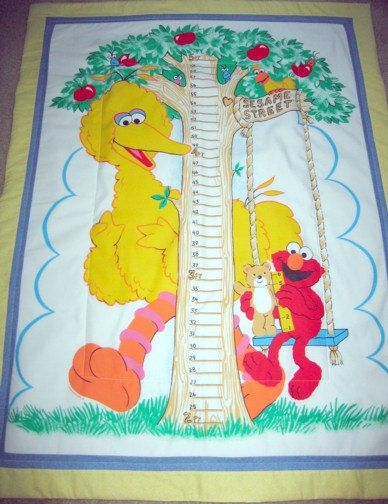 Sesame Street Quilted Comforter Blanket Or Growth Chart Wall Hanging