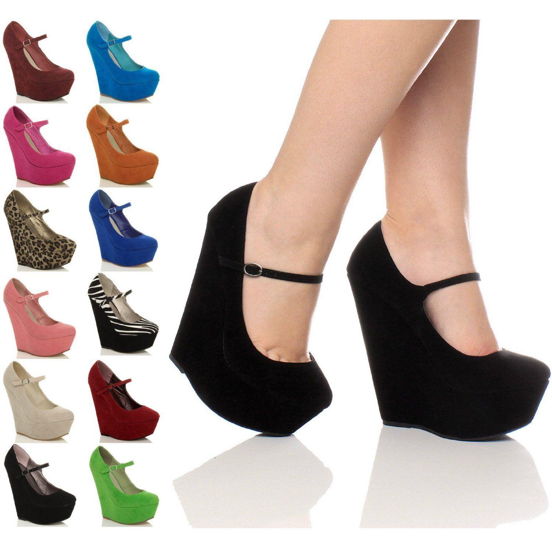 a0a5a1cf606f7 Womens ladies high heel wedge platform mary jane style full toe ...
