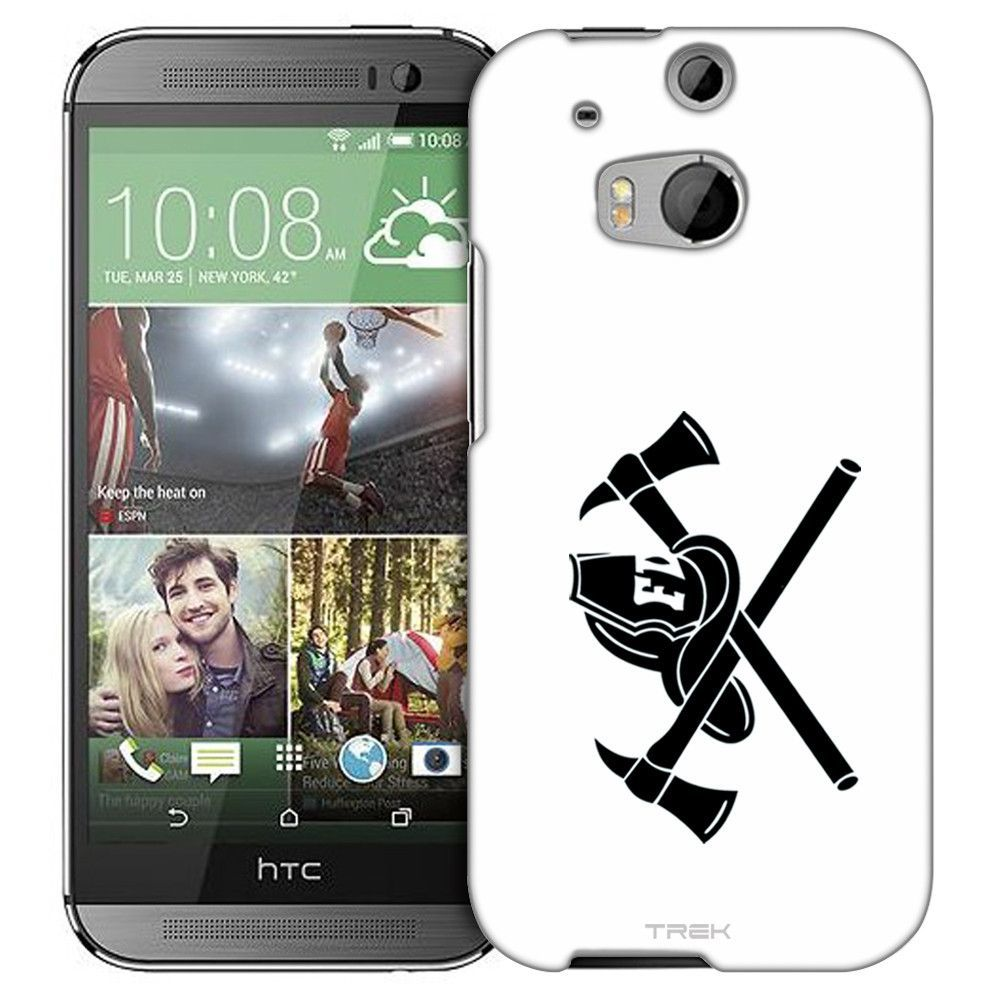 HTC One M8 Silhouette Firefighter on White Slim Case