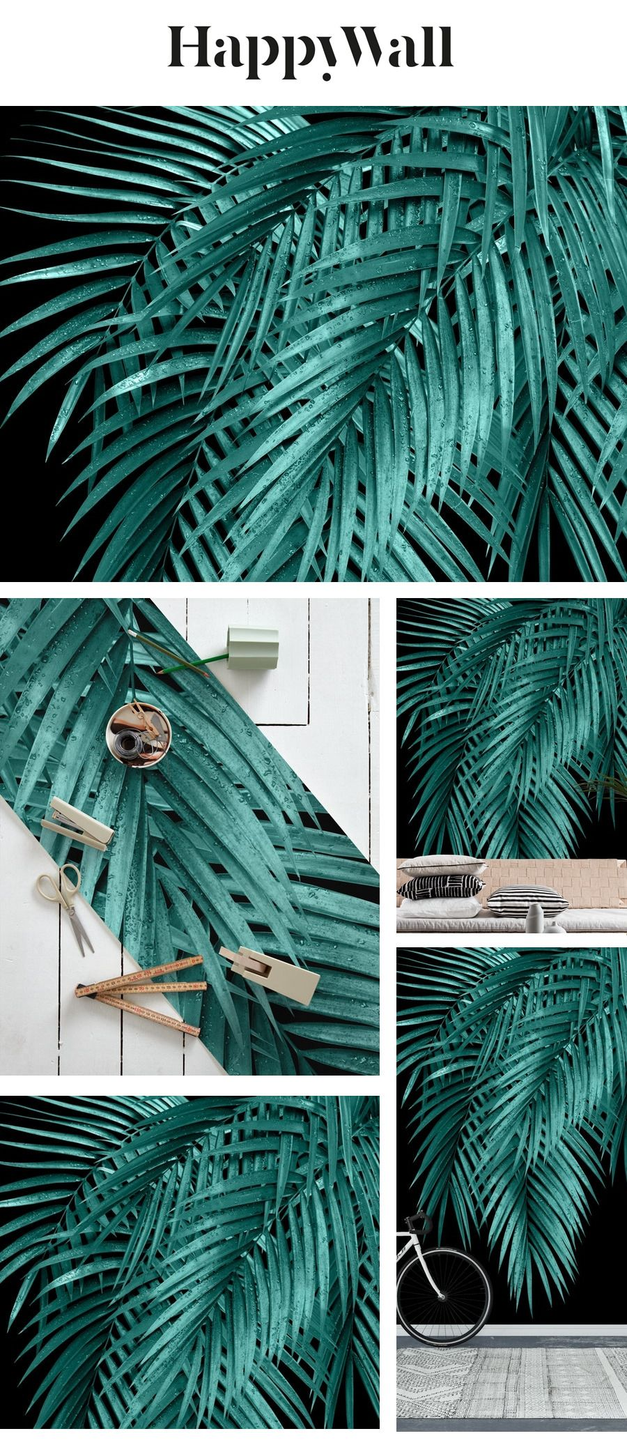 Palm Leaves Teal Night Vibes 1 Wall mural in 2020 Summer