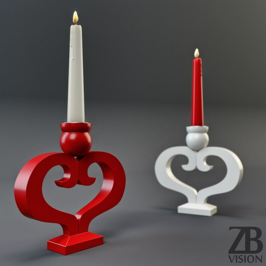 Heart shaped candle holder d model available here docean