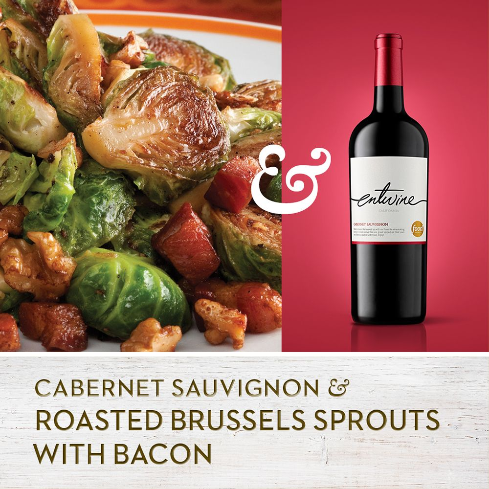 Bacon Makes Everything Better Serve These Savory Bacon Basted Sprouts With Our Rich Fruity Cabernet Fo Wine Food Pairing Roasted Sprouts Food Network Recipes