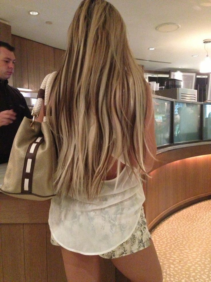 Light Blonde Hair With Dark Brown Peekaboo Lowlights