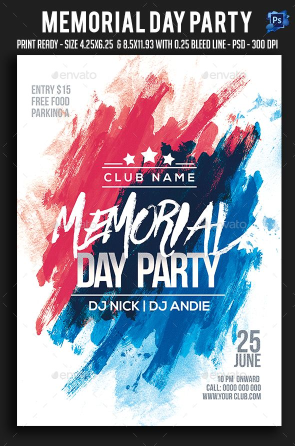 Memorial Day Party Flyer Template PSD Flyer Templates Pinterest