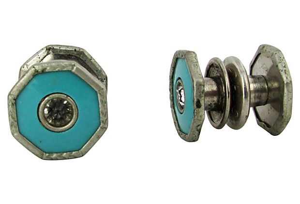 1920s Enameled Snap Cuff Links w/ Rhinestone by Ruby + George on @One Kings Lane #vintageandmarketfinds #mensjewelry #vintagecufflinks #vintagejewelry #cufflinks #gift #gifts #giftsforhim