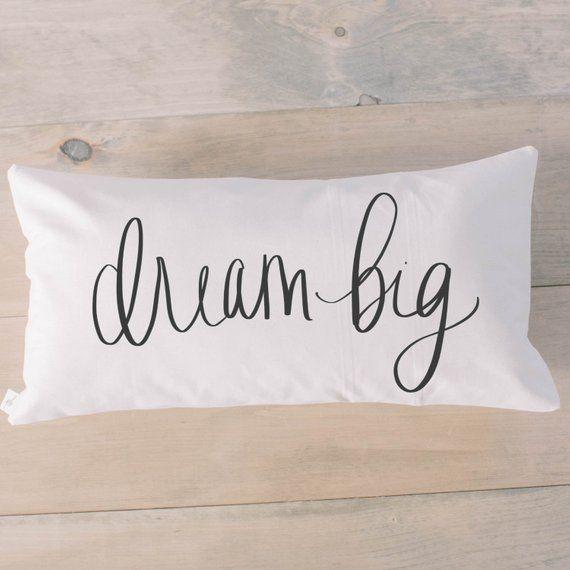 Lumbar Pillow - Dream Big Calligraphy, Choose Your Favorite Fabric Color, Text Color, Font Design, C