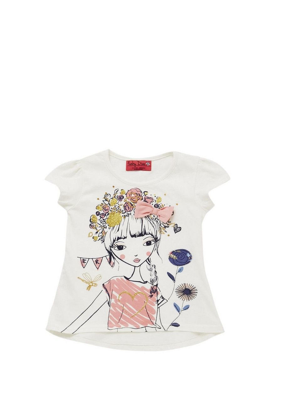 b085fc7260651 Clothing at Tesco | Funky Diva Flower Girl T-Shirt > tops > Tops & T-shirts  > Younger girls