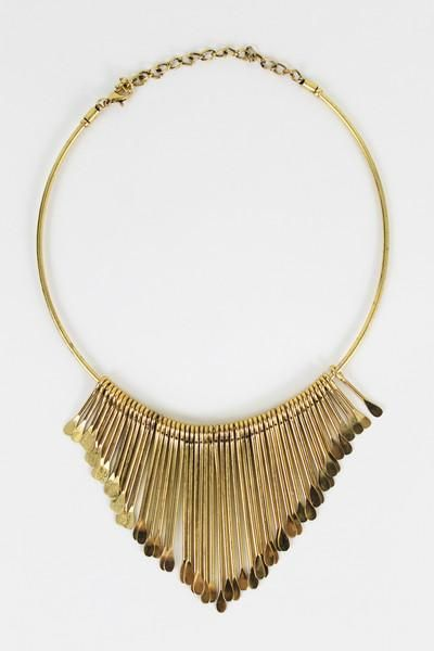 Matchstick Fringe Collar - Make a serious statement with this golden collar necklace. Featuring wind chime-like pendants dangling from a golden ring, this piece will dress up everything from a simple t-shirt to a fancy frock.