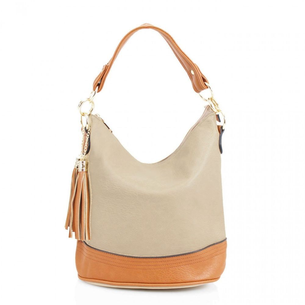 New Bow Adornment Synthetic Leather Ladies Shopper Shoulder Bag