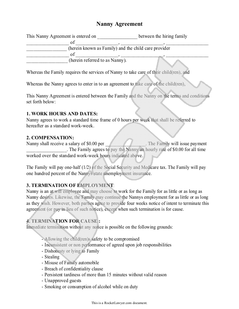 sample nanny agreement form template