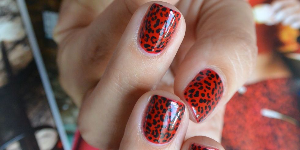 Nail Art How To Fierce Red And Black Leopard Print Grey Nail Designs Red Nail Designs Cheetah Print Nails