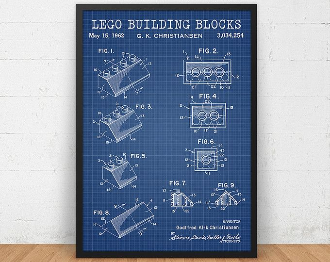 Lego blueprint art download lego minifigure print lego poster lego printable blueprint toy brick patent lego toys building block print lego poster malvernweather Image collections
