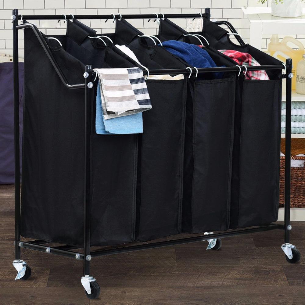 4 Bag Rolling Laundry Bag Sorter Cart Hamper Organizer Laundry