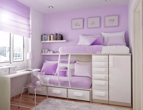 Wonderful Lovely Bedroom With Split Bunk Beds Built In