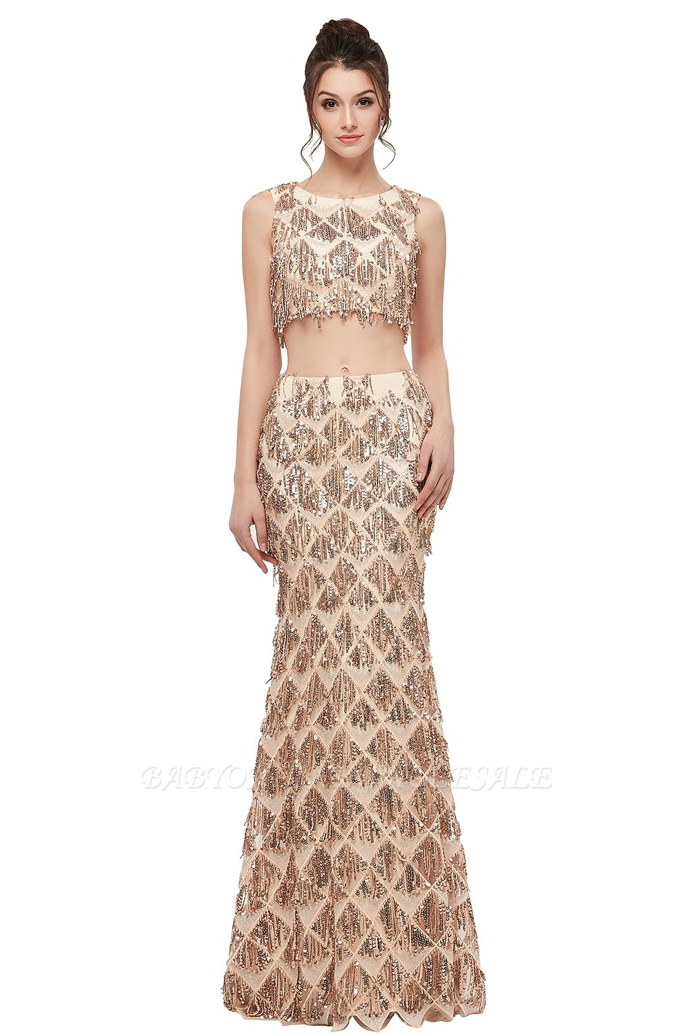 Zenia mermaid twopiece sleeveless floor length sequined champagne