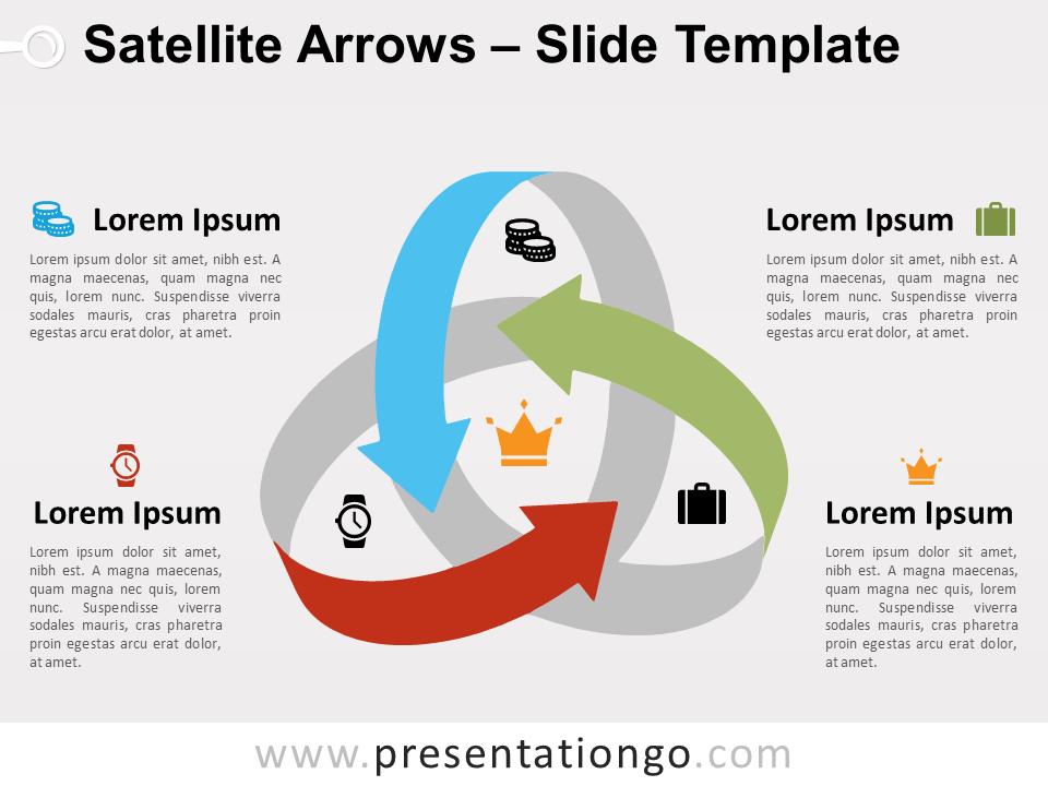 Satellite Arrows For Powerpoint And Google Slides Presentationgo Com Powerpoint Satellites Thanks Words