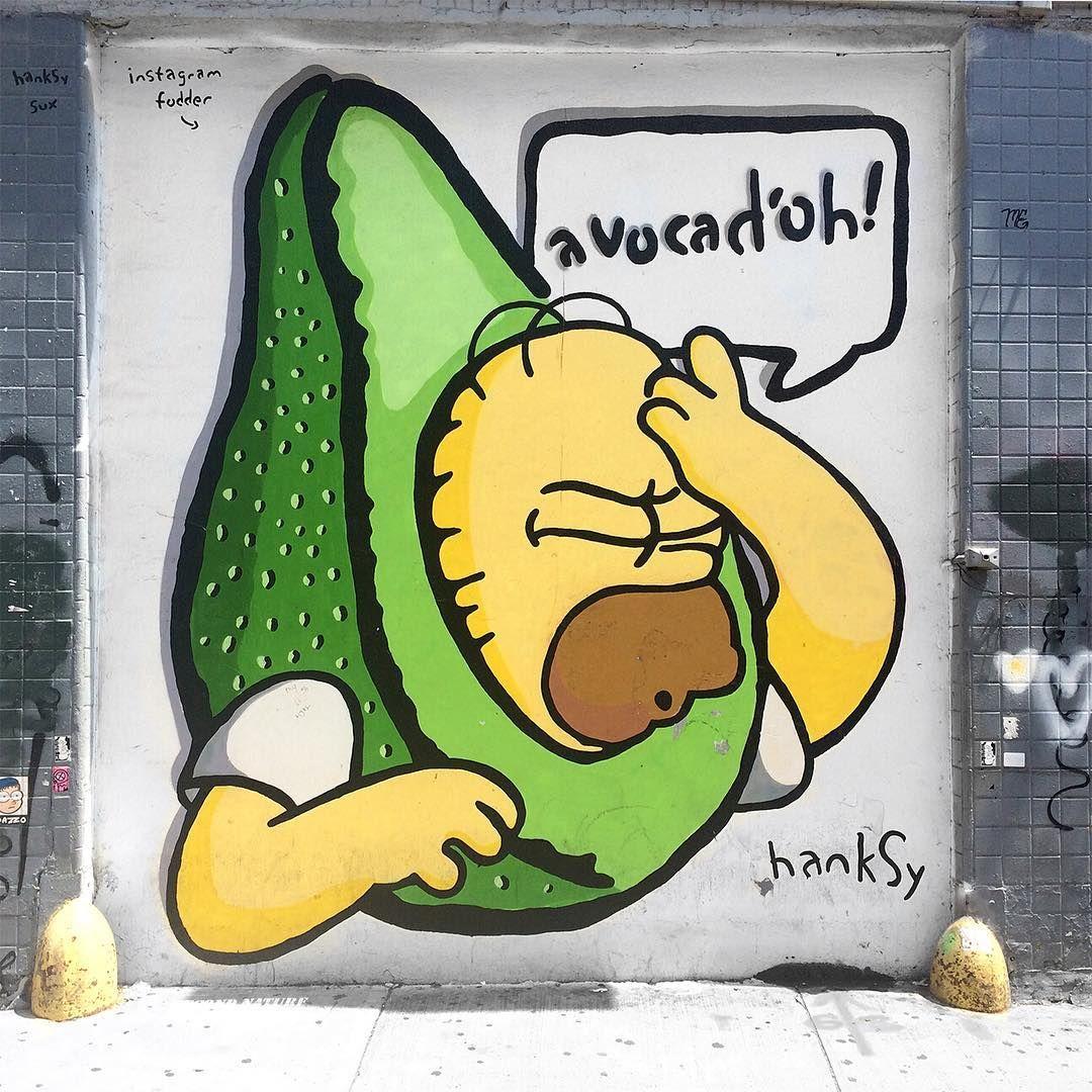 Avocado street art by Hanksy. Simpsons mural. NYC @TheRoving via ...