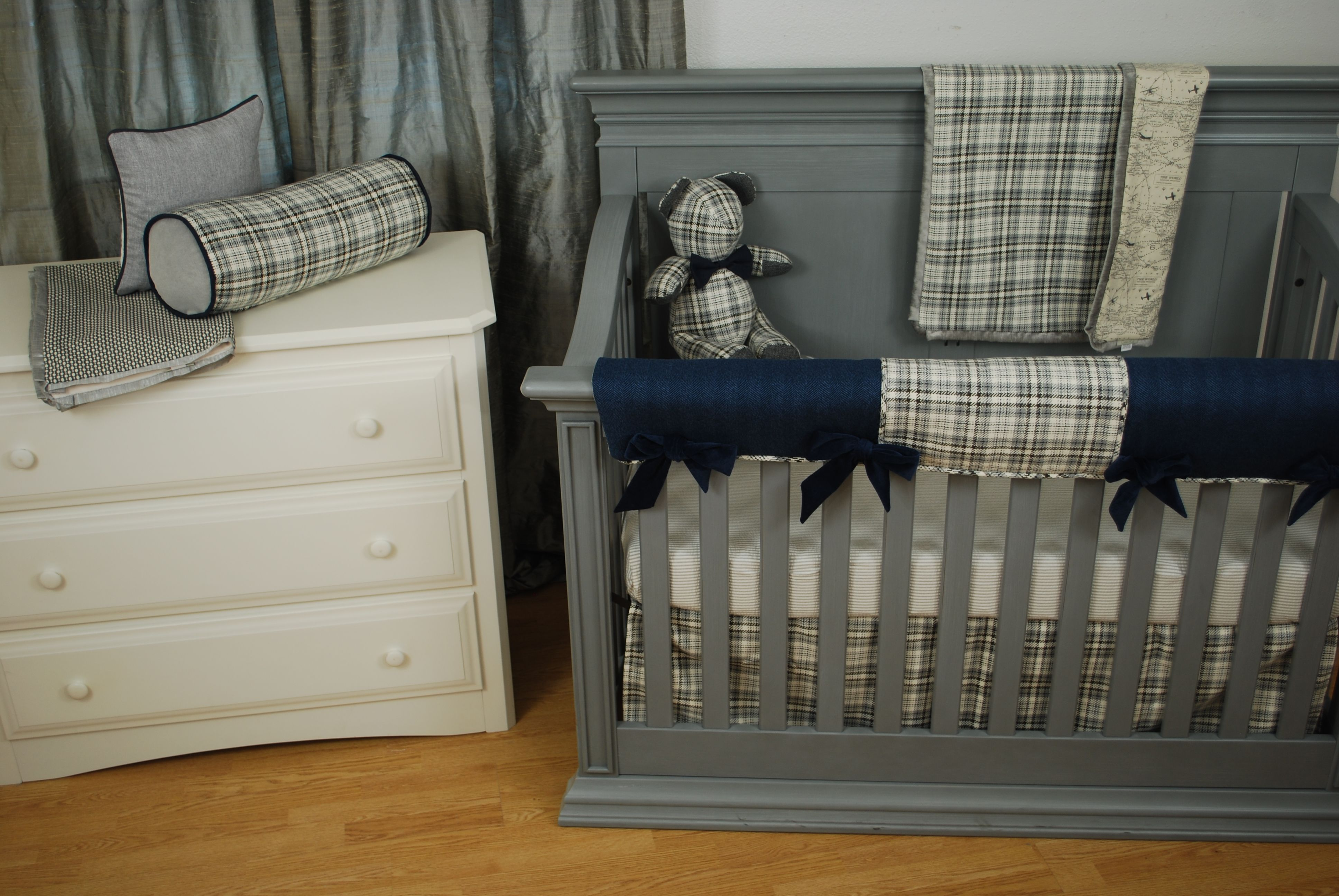 Navy plaid crib bedding with boyish fabrics like a world map print navy plaid crib bedding with boyish fabrics like a world map print and herringbone in navy and houndstooth plaid navy in the nursery pinterest gray gumiabroncs Gallery