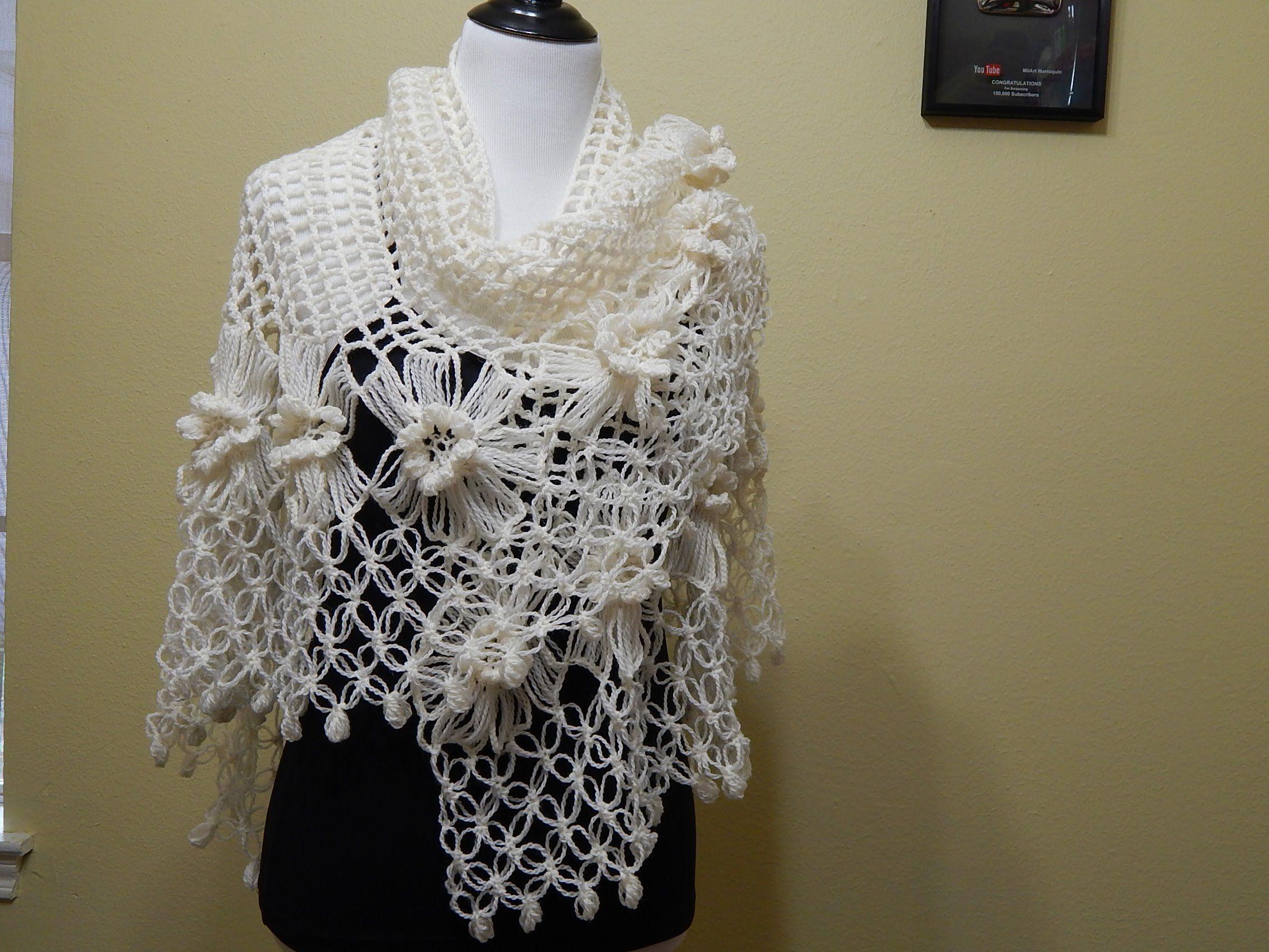 Chal con Flores Crochet parte 2 de 2 | Tutoriales | Pinterest | Chal ...