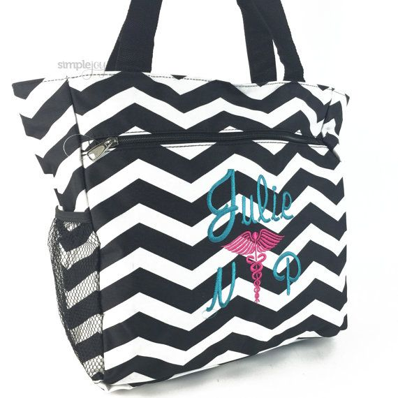 Nurse Bag Tote Monogrammed Multi Purpose Gray Chevron Nursing Caduceus Symbol Nurses Gifts Work