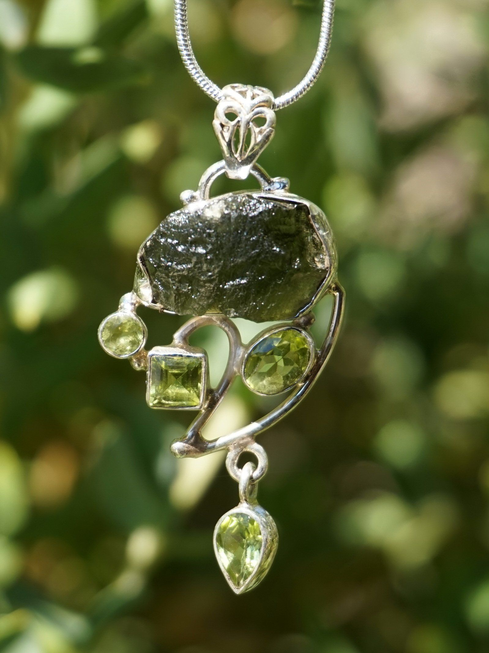 Free-form Moldavite Pendant 2 with Peridot in 2019 | Free Form Rough