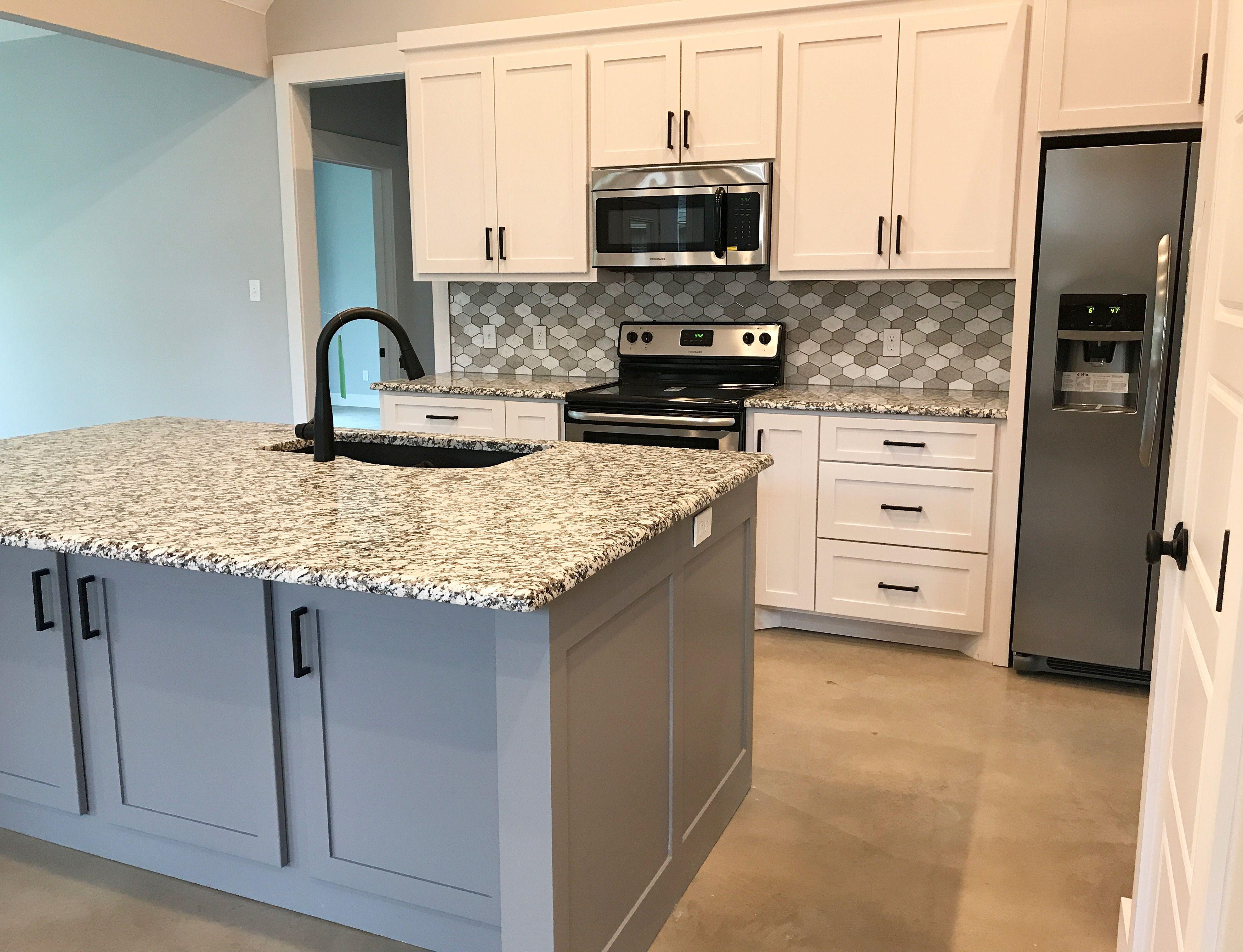 Kitchen White Shaker Cabinets Gray Shaker Island Black Square Bar Handles Granite Count Stained Kitchen Cabinets Kitchen Cabinets Trendy Kitchen Backsplash
