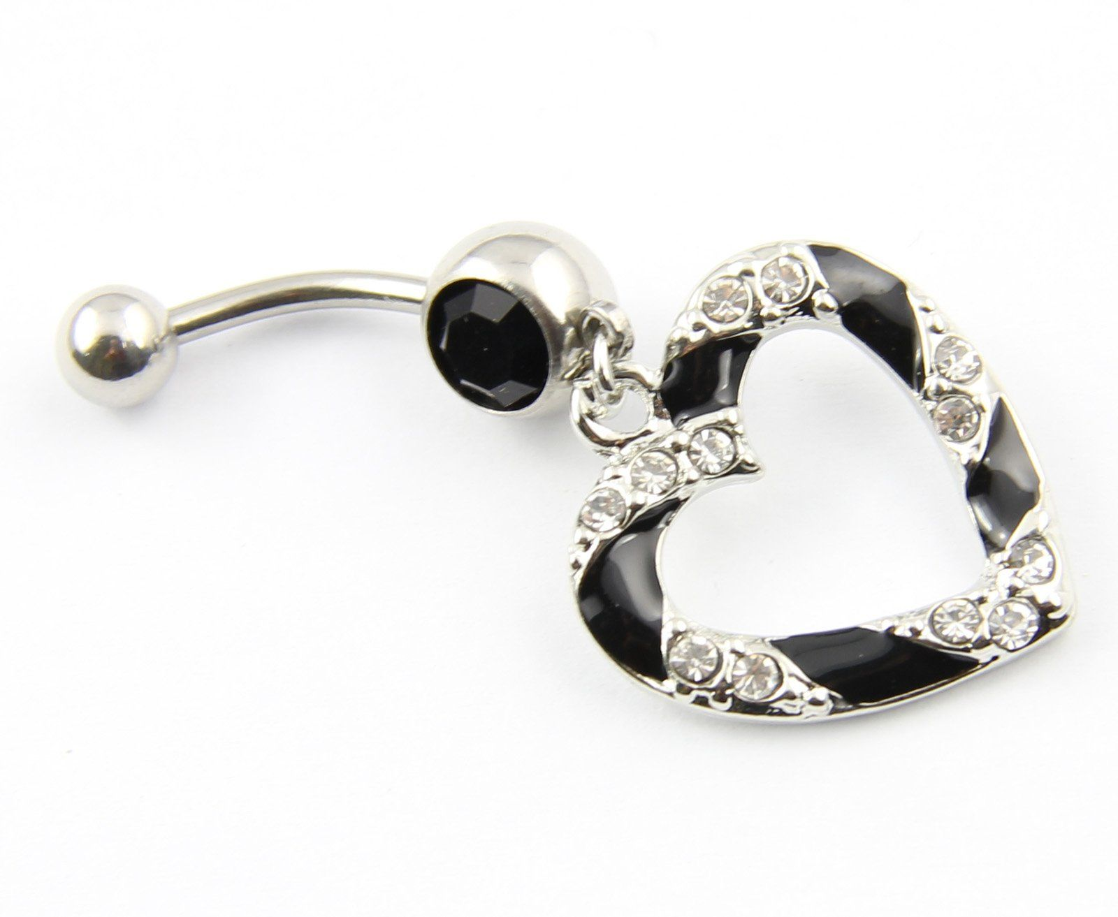 Body piercing jewelry  L Surgical Steel g Clear Black Paved Heart Hollow Dangle Belly