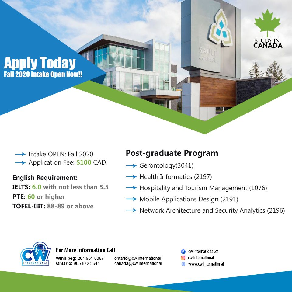Fall 2020 Intake Open Now! Sault College in 2020
